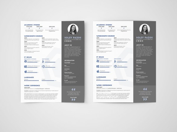 Free Architect Resume Curriculum Vitae Templates