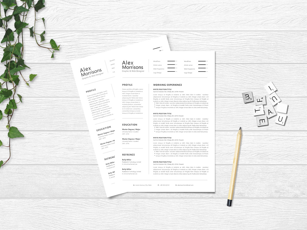Alex Morrisons Resume Free Minimal Word Resume Template