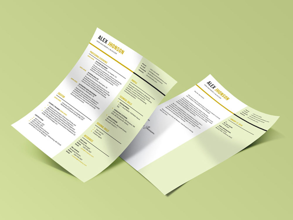 Free Engineering Resume Template with Cover Letter Design