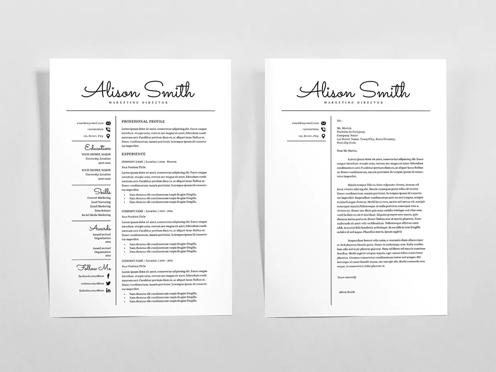 Free Classical Resume Template With Matching Cover Letter Design