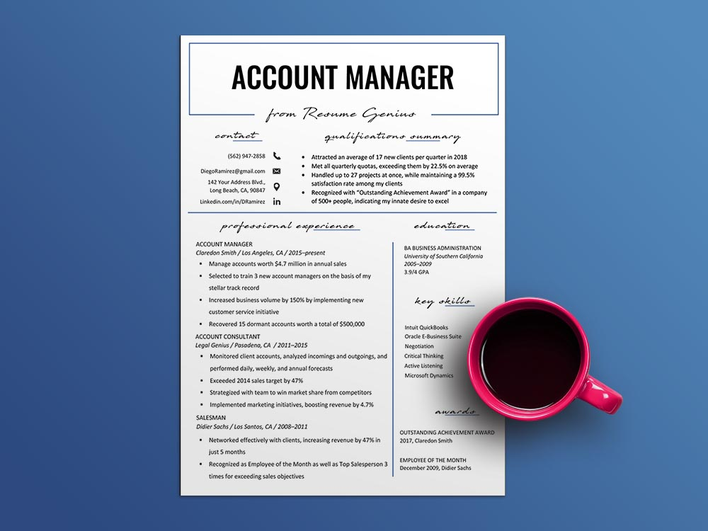 Free Account Manager Resume Template with Sample