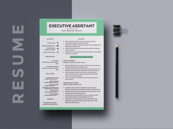 Free Executive Assistant Resume Template with Sample Text