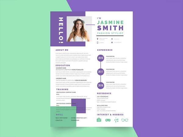Free Fresh Stylist Resume Template with for your Job Interview