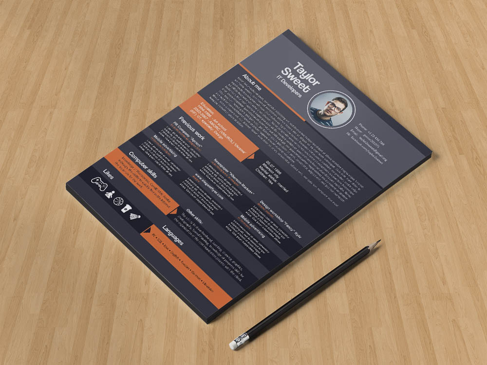 Free IT Developer Resume Template in PSD File Format