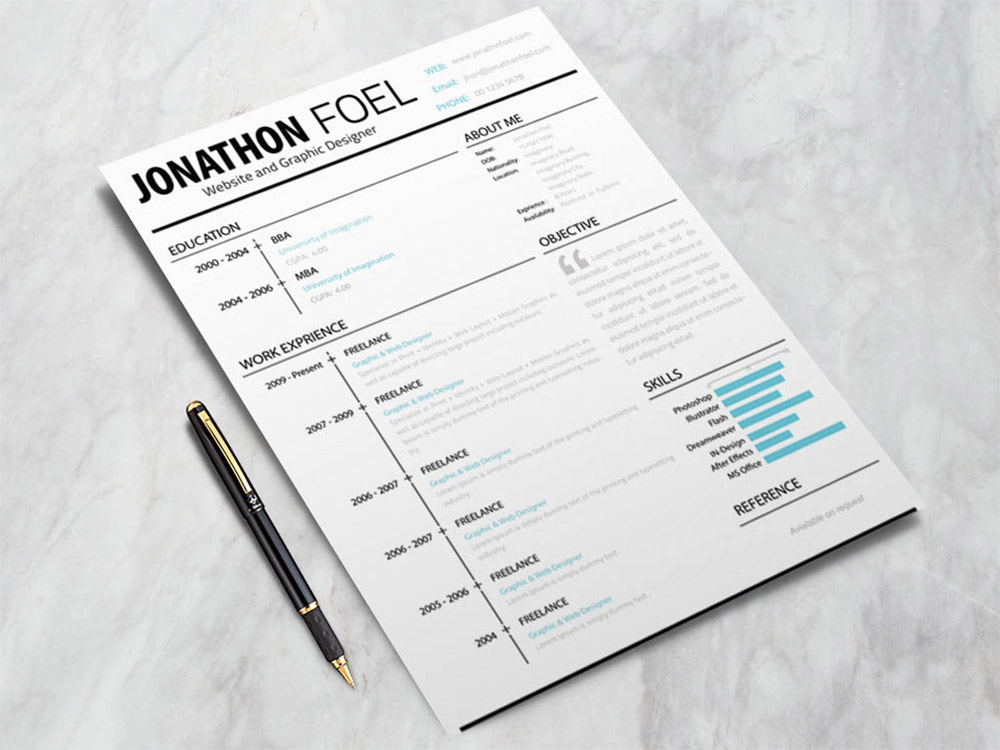 Free Minimalistic Style Resume Template with Unique Design