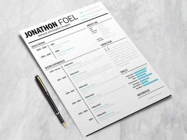 Free Minimalistic Style Resume Template with Unique Design
