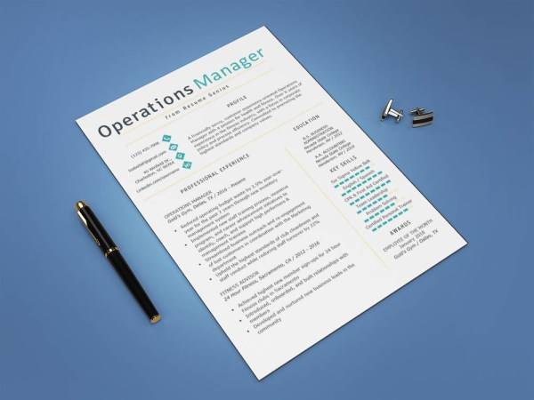 Free Operations Manager Resume Template with Simple Look