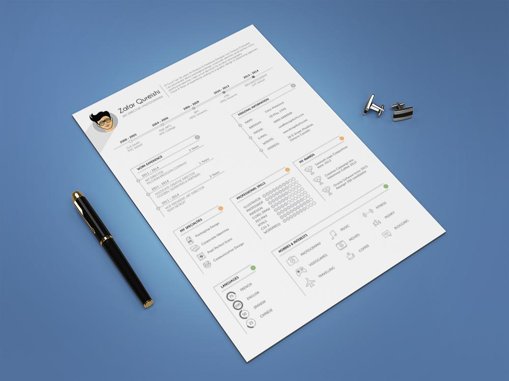Free Professional Resume (CV) Template for Graphic Designers
