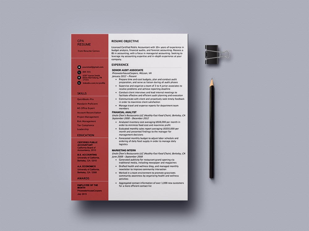 Free Public Accountant Resume Template