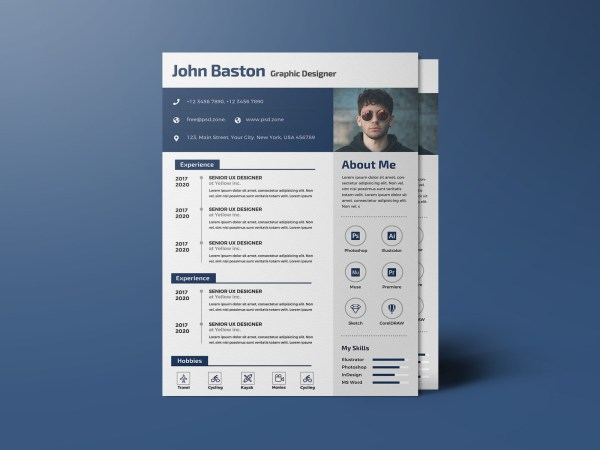 Free Designer PSD CV Template for Your Job Opportunity
