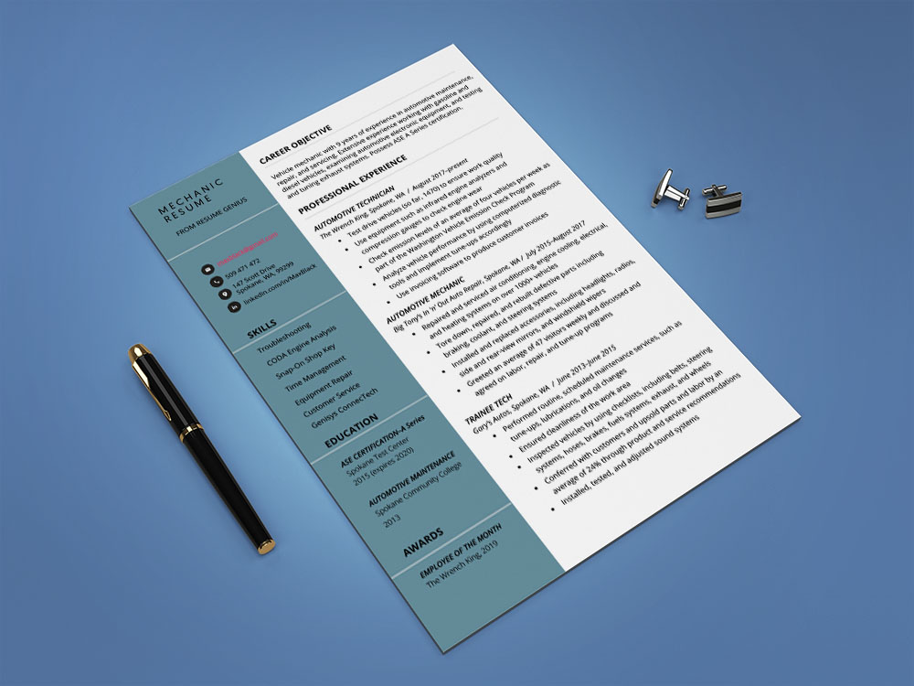 Free Mechanic CV/Resume Template with Clean Look
