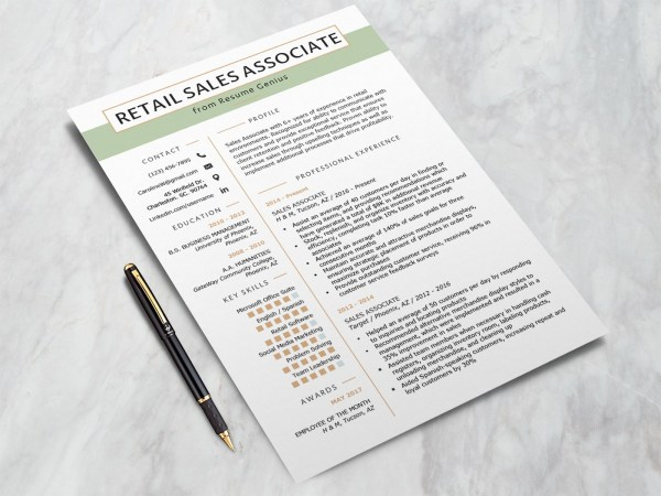 Free Retail Sales Associate Resume Template with Clean and Elegant Look