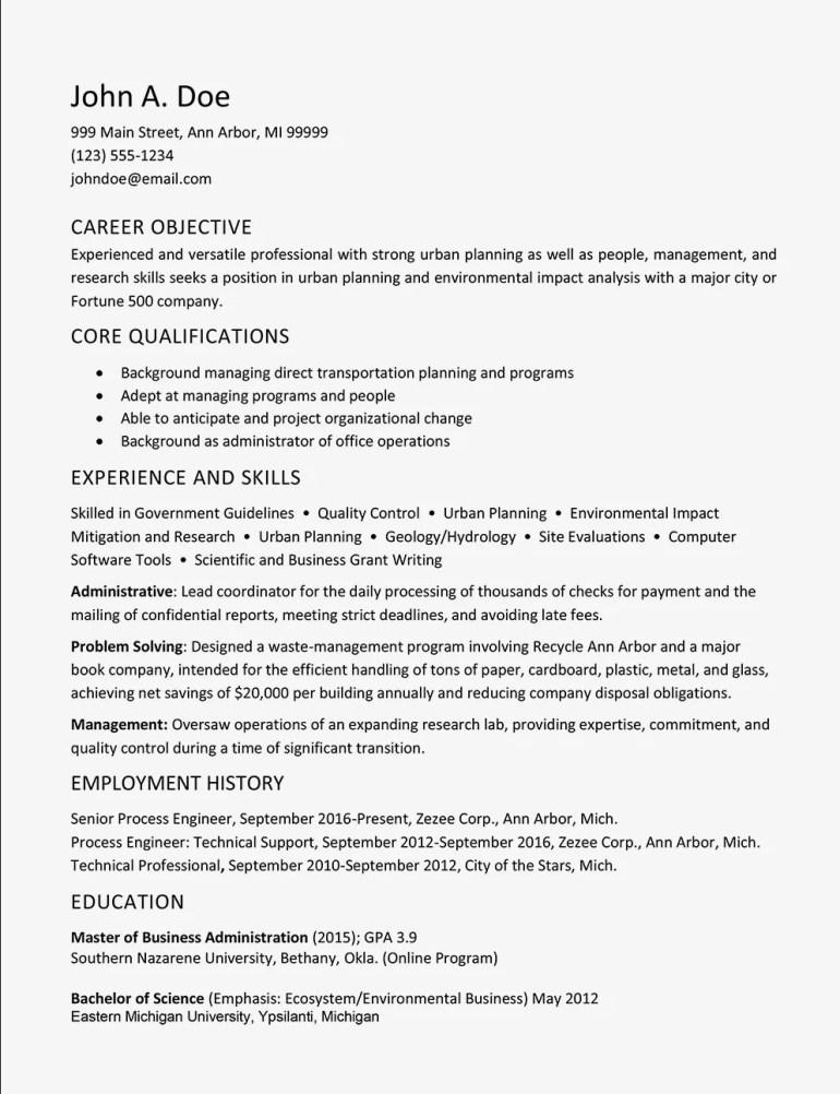 Free Urban Planner CV Resume Template