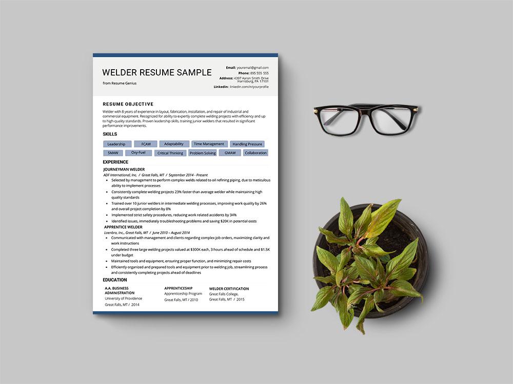 Free Welder CV Resume Template