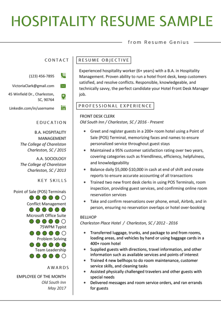 Free Hotel Front Desk Resume Template for Your Next Job Opportunity