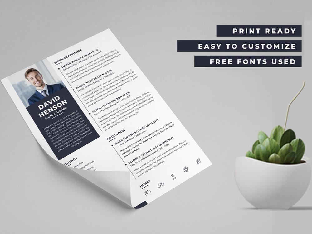 Free Modern PSD Resume Template