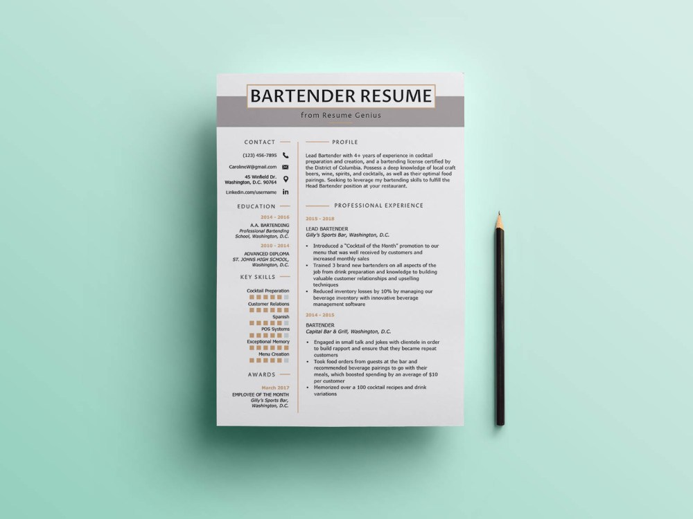 Free Bartender CV Resume Template