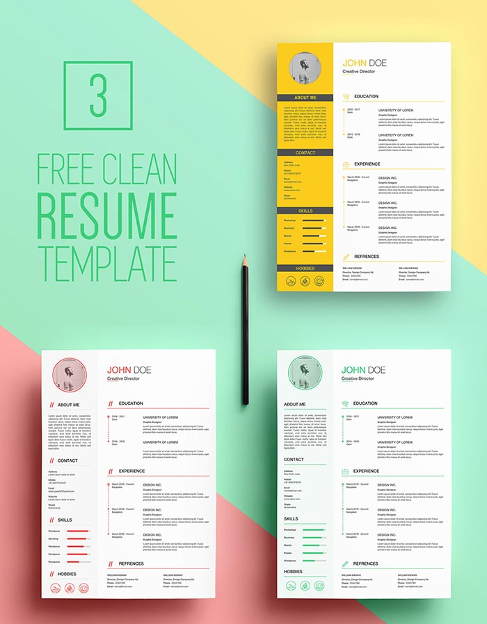 Free Clean Sketch CV Resume Template