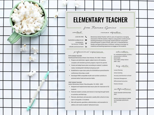 Free Elementary Teacher Resume Template with Clean and Simple Look