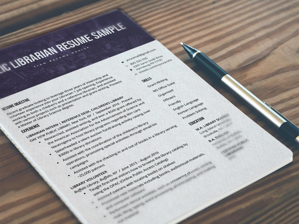 Free Librarian Resume Template with Clean and Fresh Look