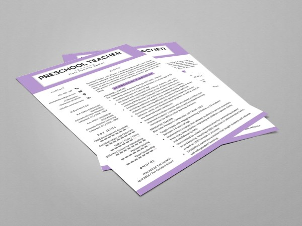 Free Preschool Teacher Resume Template with Clean and Fresh Look