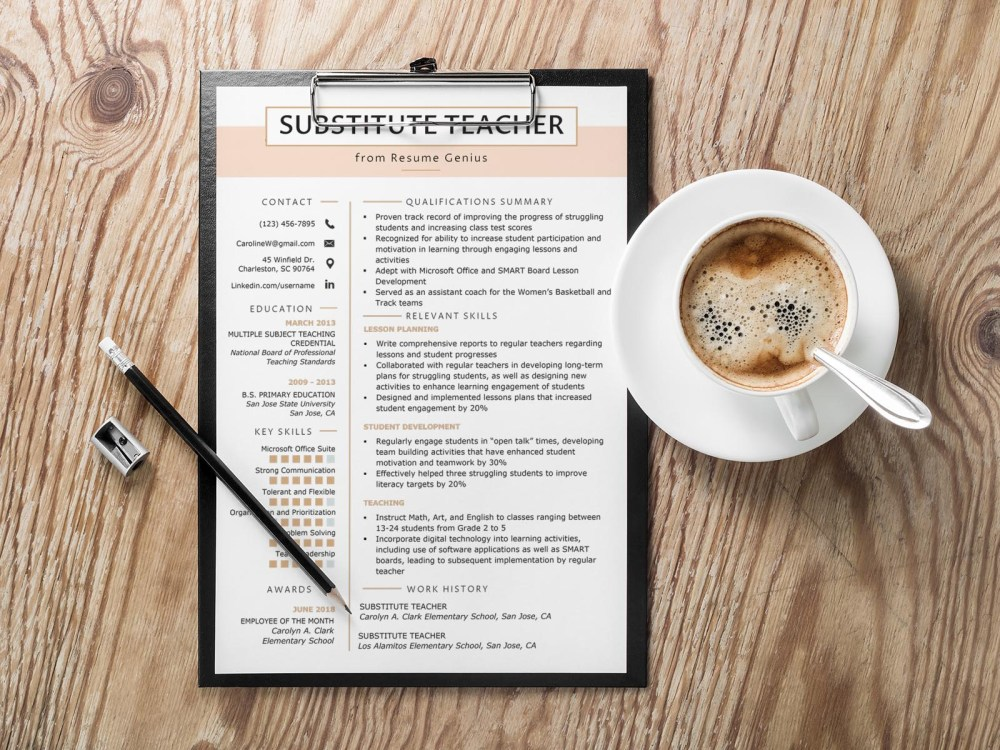 Free Substitute Teacher Resume Template with Clean and Simple Look