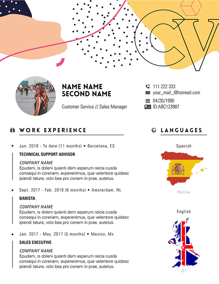 Free Trendy Indesign CV Resume Template