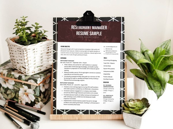 Free Restaurant Manager Resume Template