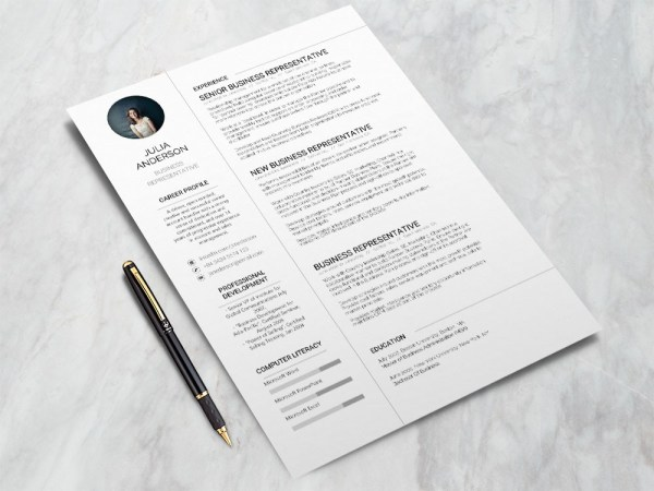 Free Business Representative Resume Template