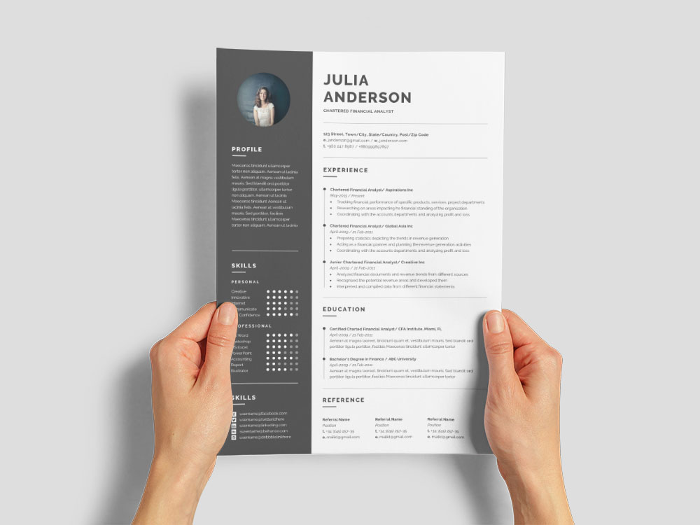 Free Chartered Financial Analyst Resume Template with Example