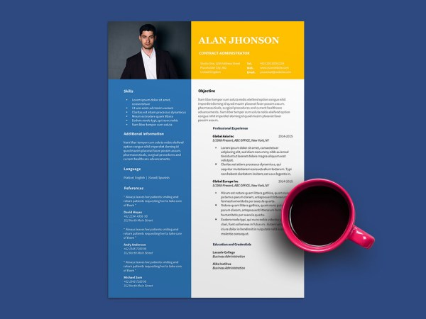 Free Contract Administrator Resume Template for Job Seeker