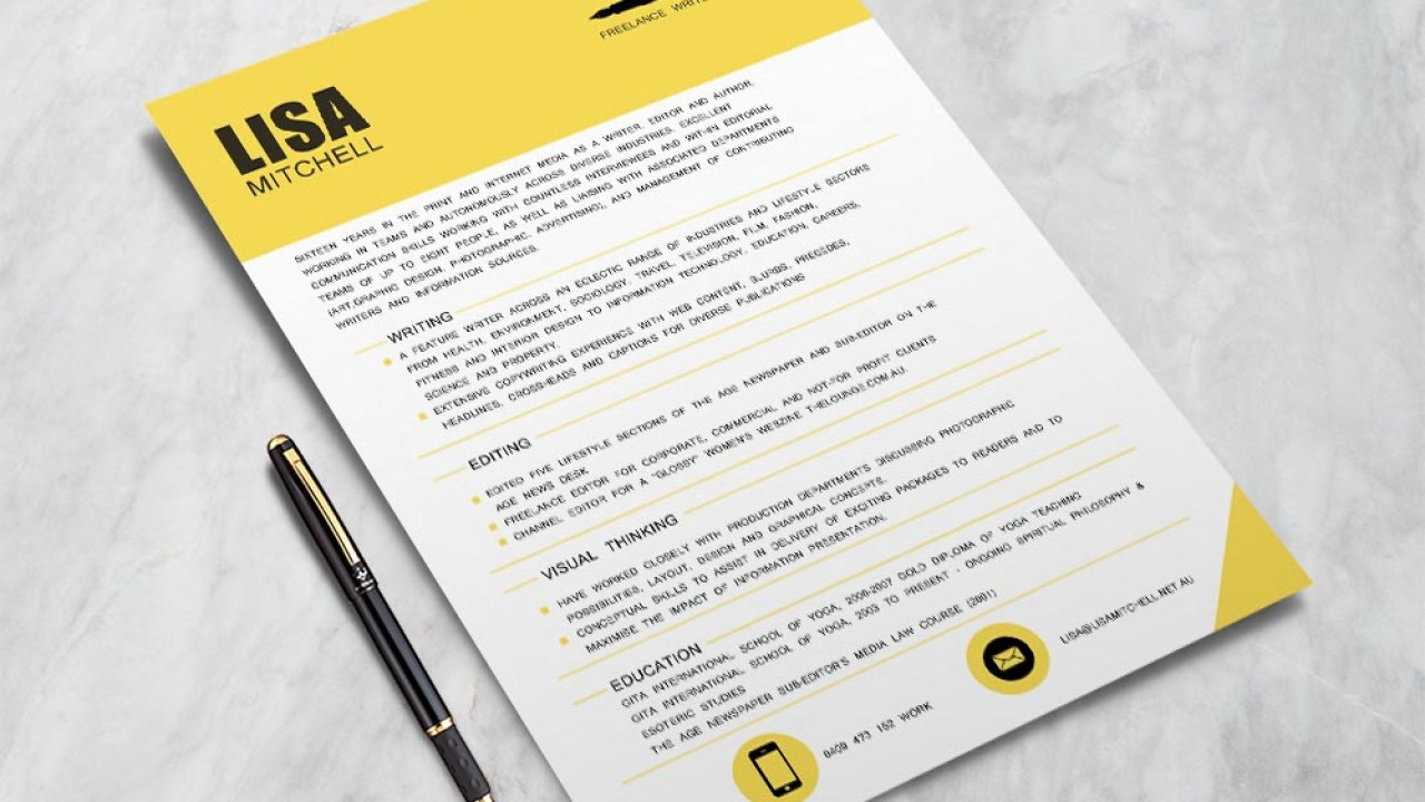 Free Freelance Writer Cv Resume Template With Professional Look