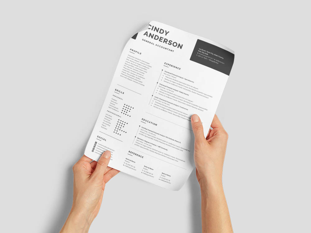 Free General Accountant Resume Template with Simple and Clean Look