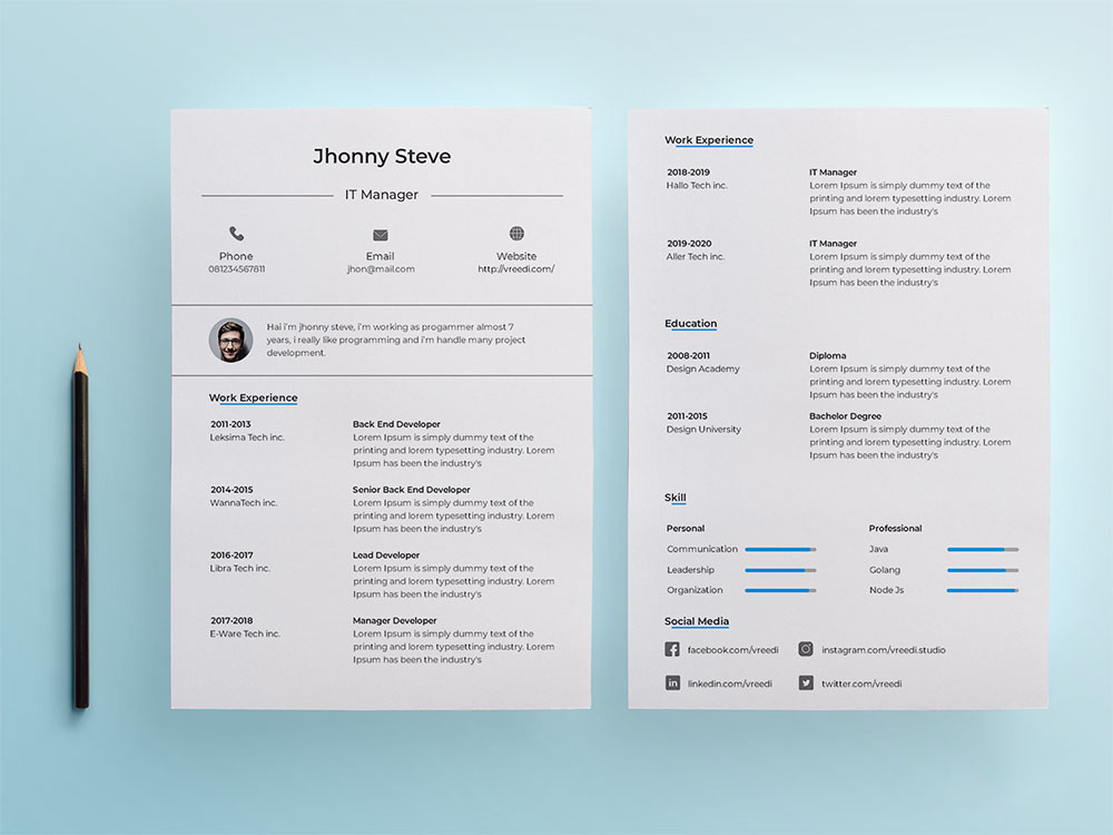 Free IT Manager Resume Template
