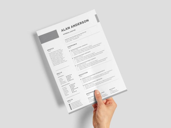 Free Internal Auditor Resume Template with Simple and Modern Look
