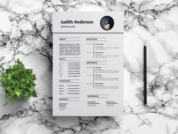 Free Receiving Clerk Resume Template for Job Seeker