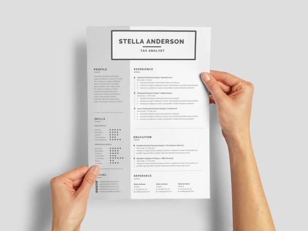 Free Tax Analyst Resume Template with Simple and Clean Look