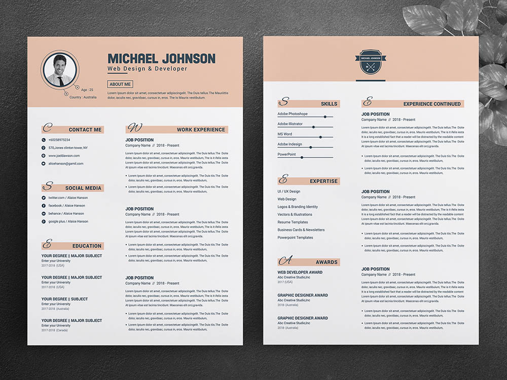 Free Word & Apple Pages Resume Template