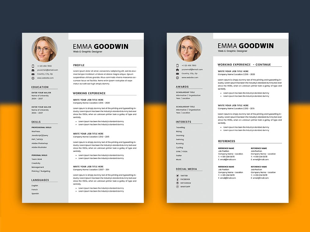 Free 2 Page Resume Template With Matching Cover Letter Design