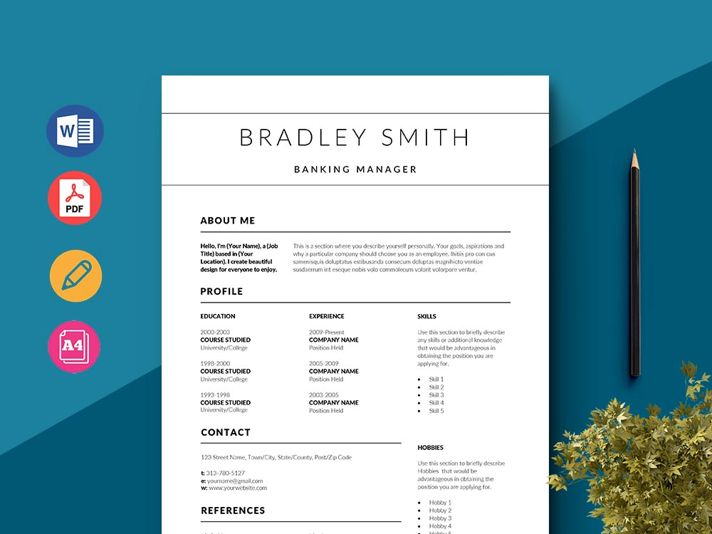 Free Banking Manager Resume Template with Clean and Elegant Look