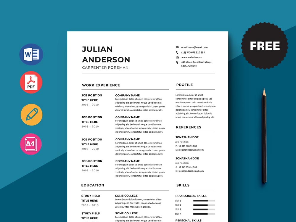 Free Carpenter Foreman Resume Template