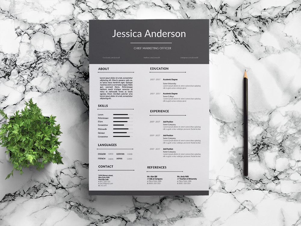 Free Chief Marketing Officer Resume Template for with Clean Look