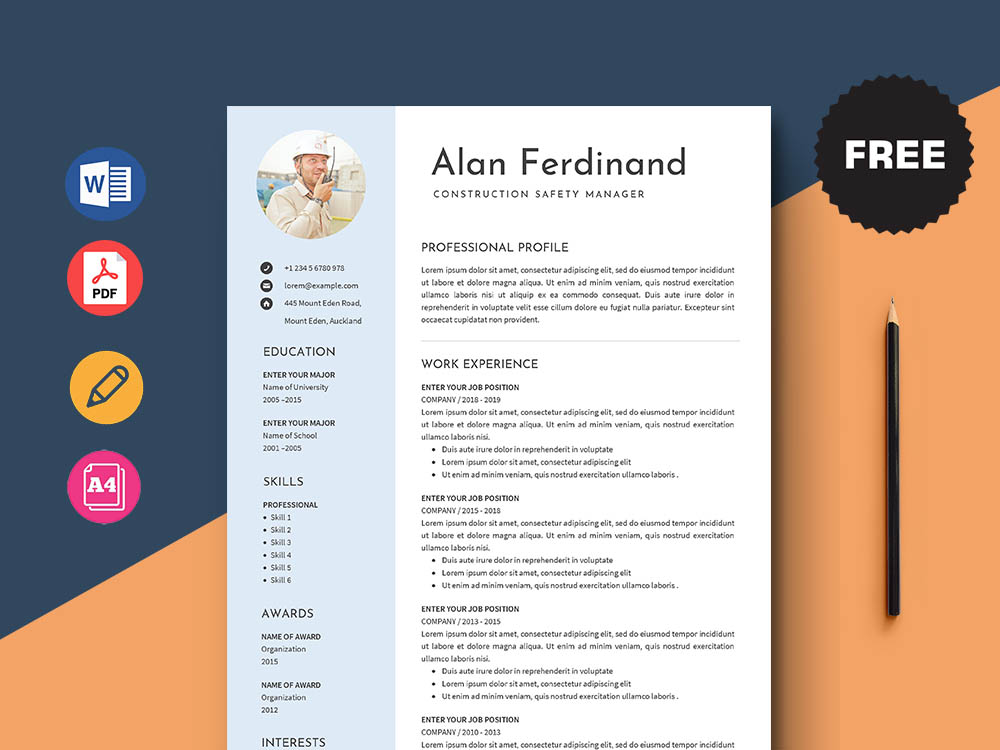 Free Construction Safety Manager Resume Template With Clean Look