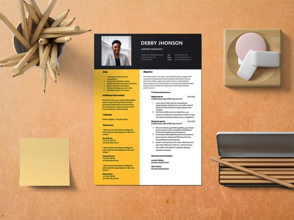 Free Content Strategist Resume Template with Modern Look