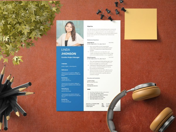 Free Creative Project Manager Resume Template with Modern Look