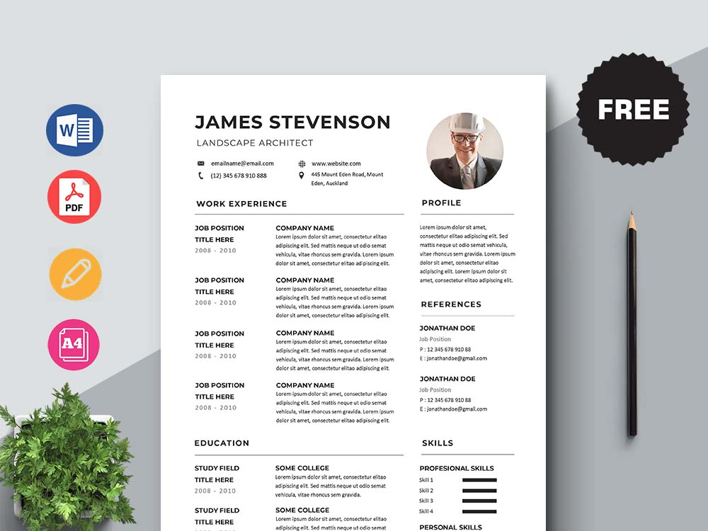 Free Landscape Architect Resume Template with Clean and Simple Look