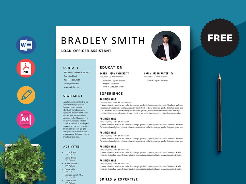 Free Loan Officer Assistant Resume Template with Simple and Clean Look