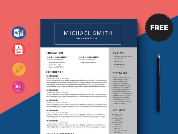 Free Loan Processor Resume Template