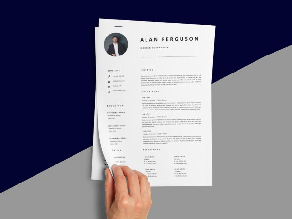 Free Marketing Manager CV/Resume Template with Professional Look