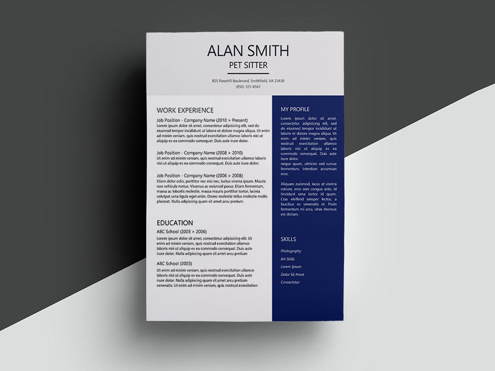 Free Pet Sitter Resume Template with Clean Look